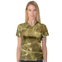 Gold Bar Golden Chic Festive Sparkling Gold  Women s V Neck Sport Mesh Tee by yoursparklingshop