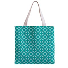Turquoise Quatrefoil Pattern Zipper Grocery Tote Bag by Zandiepants