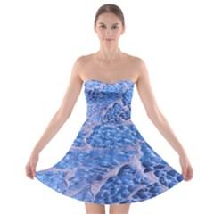 Festive Chic Light Blue Glitter Shiny Glamour Sparkles Strapless Dresses by yoursparklingshop