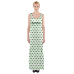 Spring Green Small Hearts Pattern Maxi Thigh Split Dress
