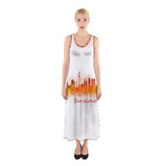 Barcelona City Art Sleeveless Maxi Dress