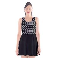 Black White Quatrefoil Classic Pattern Scoop Neck Skater Dress