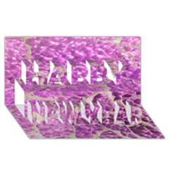 Festive Chic Pink Glitter Stone Happy New Year 3d Greeting Card (8x4)