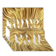 Chic Festive Elegant Gold Stripes Thank You 3d Greeting Card (7x5)  by yoursparklingshop