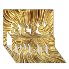 Chic Festive Elegant Gold Stripes Get Well 3d Greeting Card (7x5)  by yoursparklingshop