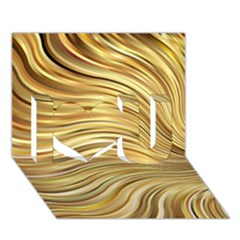 Chic Festive Gold Brown Glitter Stripes I Love You 3d Greeting Card (7x5)  by yoursparklingshop