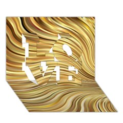 Chic Festive Gold Brown Glitter Stripes Love 3d Greeting Card (7x5)  by yoursparklingshop
