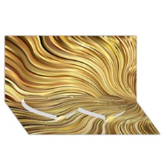 Chic Festive Gold Brown Glitter Stripes Twin Heart Bottom 3d Greeting Card (8x4)  by yoursparklingshop