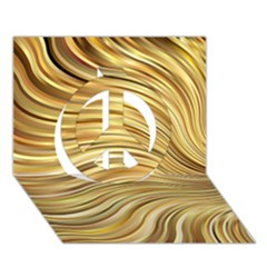 Chic Festive Gold Brown Glitter Stripes Peace Sign 3d Greeting Card (7x5)