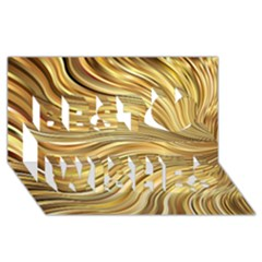 Chic Festive Gold Brown Glitter Stripes Best Wish 3d Greeting Card (8x4)  by yoursparklingshop
