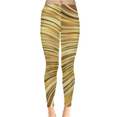 Chic Festive Gold Brown Glitter Stripes Leggings  by yoursparklingshop
