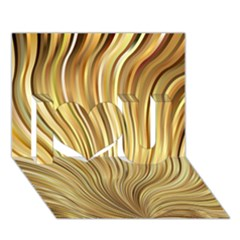 Gold Stripes Festive Flowing Flame  I Love You 3d Greeting Card (7x5)  by yoursparklingshop