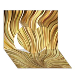 Gold Stripes Festive Flowing Flame  Heart 3d Greeting Card (7x5)  by yoursparklingshop