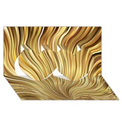 Gold Stripes Festive Flowing Flame  Twin Hearts 3d Greeting Card (8x4)  by yoursparklingshop