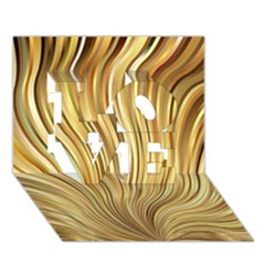 Gold Stripes Festive Flowing Flame  Love 3d Greeting Card (7x5)  by yoursparklingshop