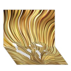 Gold Stripes Festive Flowing Flame  Love Bottom 3d Greeting Card (7x5)  by yoursparklingshop