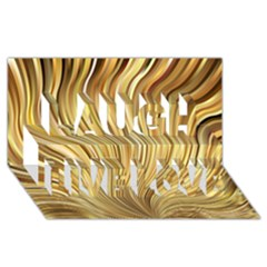 Gold Stripes Festive Flowing Flame  Laugh Live Love 3d Greeting Card (8x4)  by yoursparklingshop