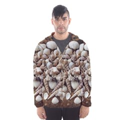 Tropical Sea Shells Collection, Copper Background Hooded Wind Breaker (Men) by yoursparklingshop