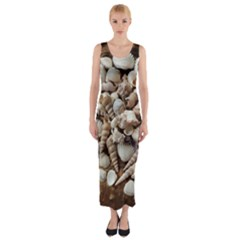 Tropical Sea Shells Collection, Copper Background Fitted Maxi Dress