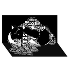 Funny Santa Black And White Typography Twin Hearts 3d Greeting Card (8x4)  by yoursparklingshop