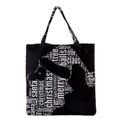 Funny Santa Black And White Typography Grocery Tote Bag by yoursparklingshop