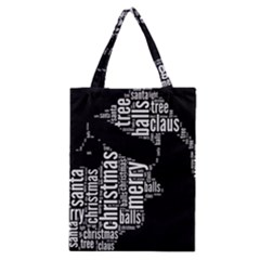 Funny Santa Black And White Typography Classic Tote Bag by yoursparklingshop