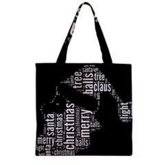 Funny Santa Black And White Typography Zipper Grocery Tote Bag by yoursparklingshop
