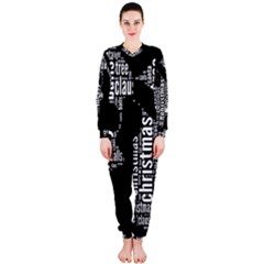 Funny Santa Black And White Typography Onepiece Jumpsuit (ladies)  by yoursparklingshop