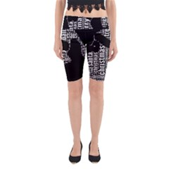 Funny Santa Black And White Typography Yoga Cropped Leggings by yoursparklingshop