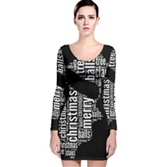 Funny Santa Black And White Typography Long Sleeve Velvet Bodycon Dress by yoursparklingshop