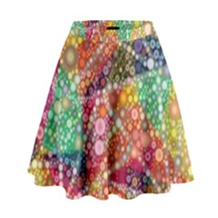 Colorful Chemtrail Bubbles High Waist Skirt by KirstenStar