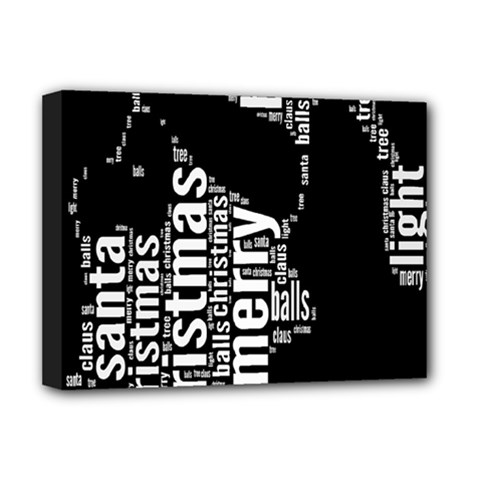 Funny Merry Christmas Santa, Typography, Black And White Deluxe Canvas 16  X 12   by yoursparklingshop