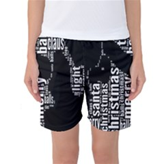 Funny Merry Christmas Santa, Typography, Black and White Women s Basketball Shorts by yoursparklingshop