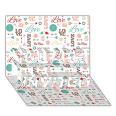 Lovely Valentine s Day Pattern You Are Invited 3d Greeting Card (7x5)