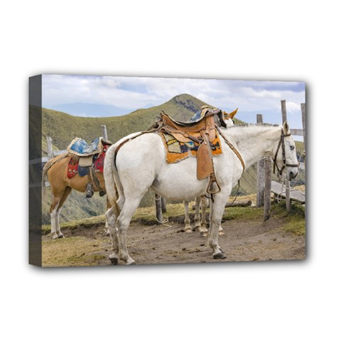 Two Horses Tied At The Top Of Mountains In Quito Ecuador 1 Deluxe Canvas 18  X 12   by dflcprints
