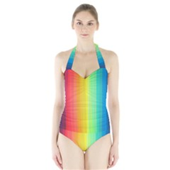 Sweet Colored Stripes Background Women s Halter One Piece Swimsuit by TastefulDesigns