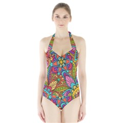 Festive Colorful Ornamental Background Women s Halter One Piece Swimsuit by TastefulDesigns