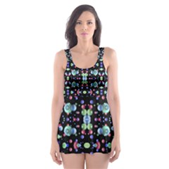 Multicolored Galaxy Pattern Print Skater Dress Swimsuit