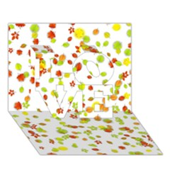 Colorful Fall Leaves Background Love 3d Greeting Card (7x5)  by TastefulDesigns