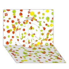 Colorful Fall Leaves Background Peace Sign 3d Greeting Card (7x5)