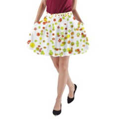 Colorful Fall Leaves Background A Line Pocket Skirt by TastefulDesigns