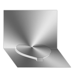 Shiny Metallic Silver Heart Bottom 3d Greeting Card (7x5)  by yoursparklingshop