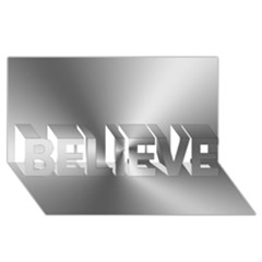 Shiny Metallic Silver Believe 3d Greeting Card (8x4)  by yoursparklingshop