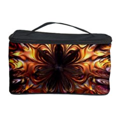 Golden Metallic Abstract Flower Cosmetic Storage Cases by CrypticFragmentsDesign