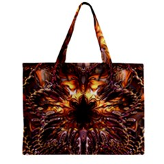 Golden Metallic Abstract Flower Zipper Mini Tote Bag by CrypticFragmentsDesign