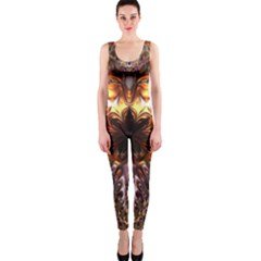 Golden Metallic Abstract Flower Onepiece Catsuit by CrypticFragmentsDesign