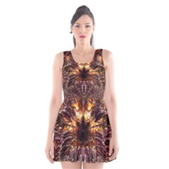 Golden Metallic Abstract Flower Scoop Neck Skater Dress by CrypticFragmentsDesign