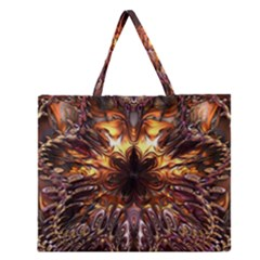 Golden Metallic Abstract Flower Zipper Large Tote Bag by CrypticFragmentsDesign
