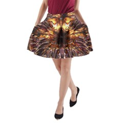 Golden Metallic Abstract Flower A-Line Pocket Skirt by CrypticFragmentsDesign