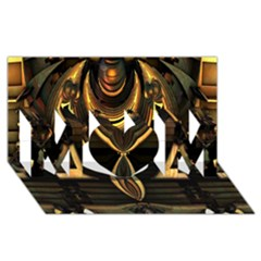 Golden Metallic Geometric Abstract Modern Art Mom 3d Greeting Card (8x4)